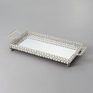 bandeja retangular de cristal com espelho 40x21cm wolff