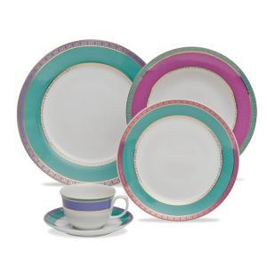 aparelho de jantar e cha 30 peças flamingo jóia brasileira oxford