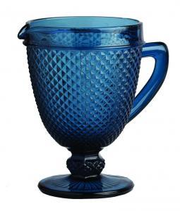 jarra bico jaca azul vidro craw