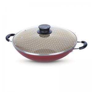 panela wok aluminio 36cm paris vermelho tramontina