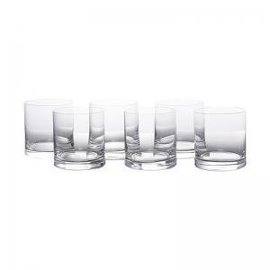 jogo de 6 copos whisky liso on the rock 410ml cristal bohemia