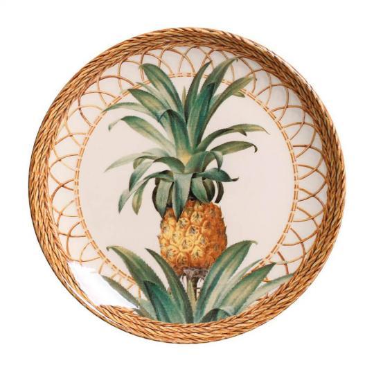 jogo 06 pratos de sobremesa abacaxi natural porto brasil