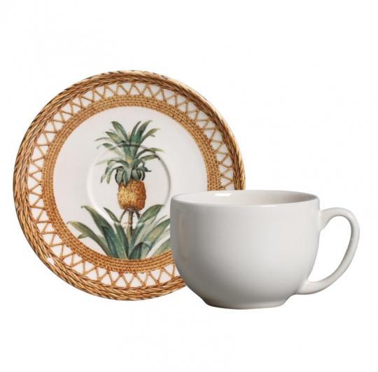 jogo 6 xícaras de chá abacaxi nat porto brasil