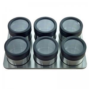 porta condimentos com 6 peças inox/preto mimo style