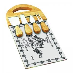 tabua de queijo com 4 facas 18x36cm craw