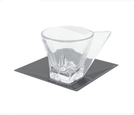 jogo de 6 xícaras de café em vidro e pires veneza black wolff