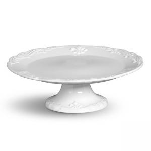 prato para bolo com pé flor de liz branco porto brasil