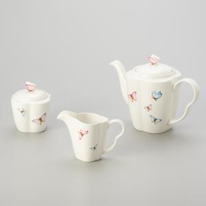 jogo com 3 peças para café em porcelana borboleta wolff