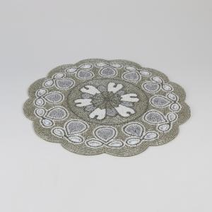jogo americano de miçanga com 4 peças beaded white/silver bon gourmet