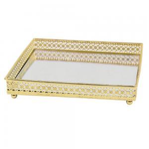 bandeja espelhada dourada 16,5cm x 16,5cm x 3,1cm