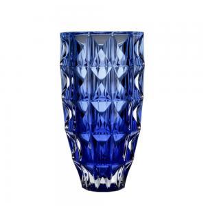 vaso cristal ecologico diamond azul 28cm bohemia