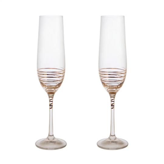 jogo 2 taças champanhe spiral com dourado bohemia