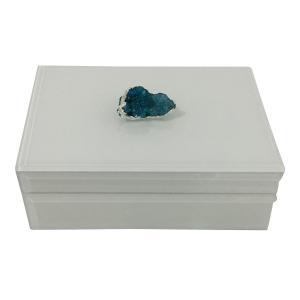 caixa decorativa branca com pedra turmalina azul - 21x14,5