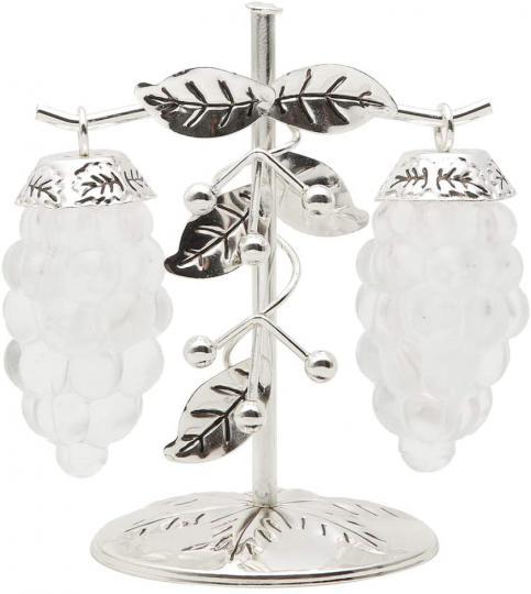 conjunto de 3 peças saleiro e pimenteiro uva zamac de //*