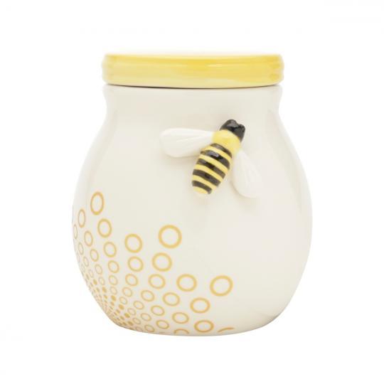 pote cerâmica abelha branco e amarelo 15x13cm