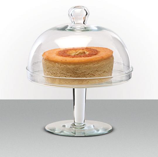prato de bolo pe e cúpula em vidro 25,5cm luvidarte