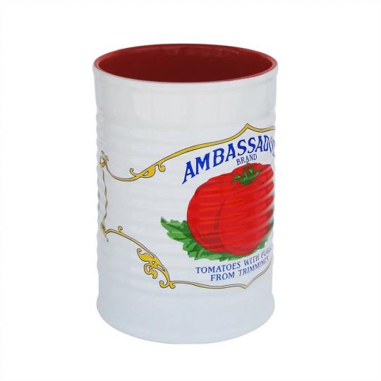 "porta utensilios lata branco/vermelho ""ambassado"" mondoceram"
