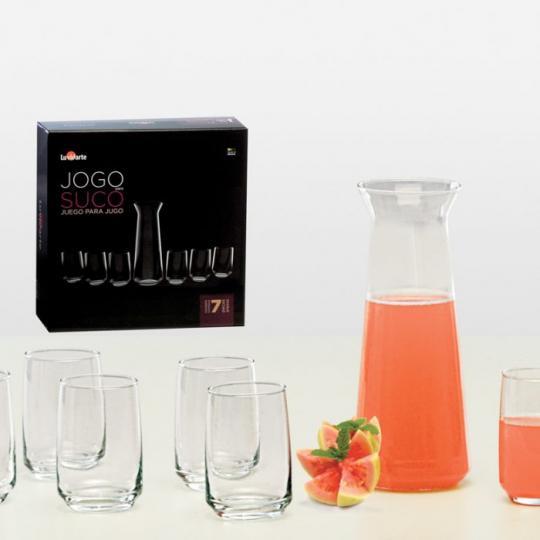 conjunto de jarra com 6 copos luvidarte