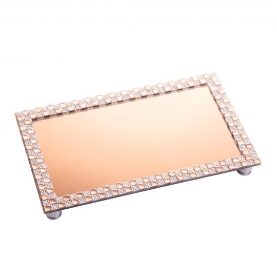 bandeja retangular espelhada cobre 33x20 cm