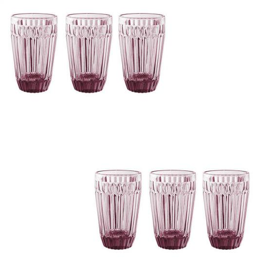 jogo 6 copos bretagne rosa 355ml lhermitage