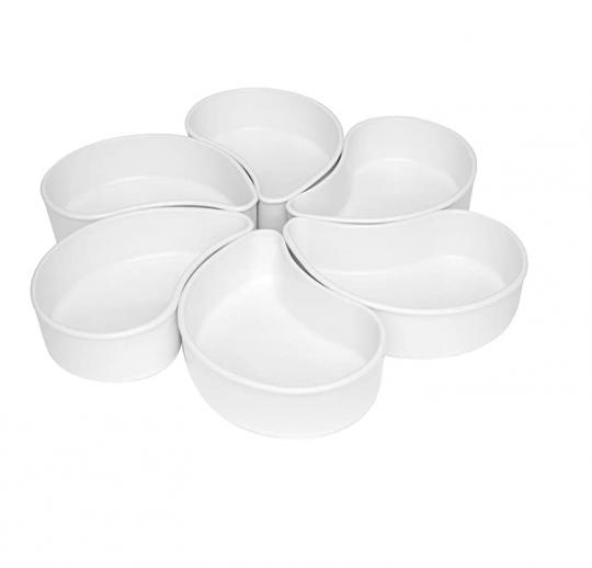 conjunto com 6 petisqueira flower branca oxford