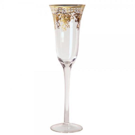 jogo de 06 taças champanhe decorada dourada