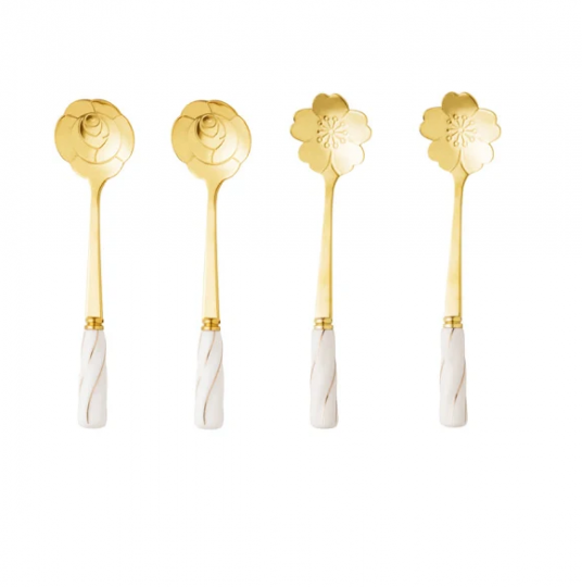 jogo de 4 colheres flower dourado com branco bon gourmet