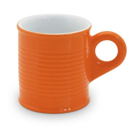 caneca lata 70ml laranja com branca mondoceram