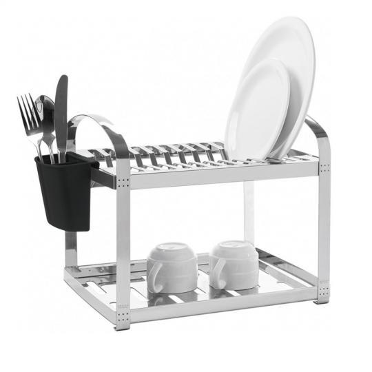 escorredor para 12 pratos aço inox com escorredor de talher brinox