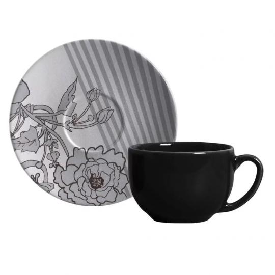 jogo 6 xícaras de chá coup gris porto brasil