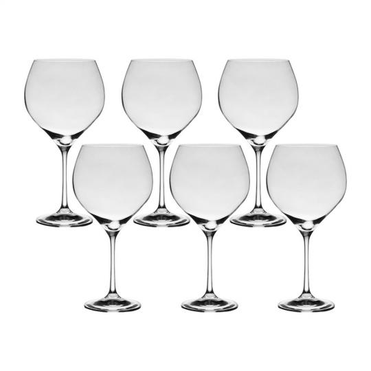 jogo 6 taças de vinho em cristal bourgogne 650ml