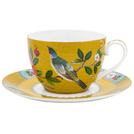 xicara de cha blushing birds amarela unitária pip studio