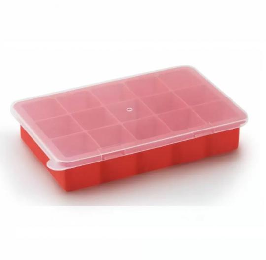 forma de gelo em silicone com tampa 15 cubos mimo