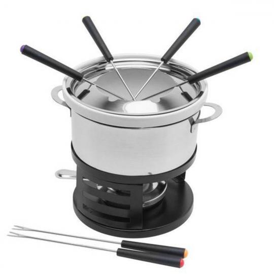 fondue 10 peças com panela de  inox connor bon gourmet
