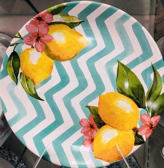 jogo de 6 pratos rasos cerâmica limões scalla