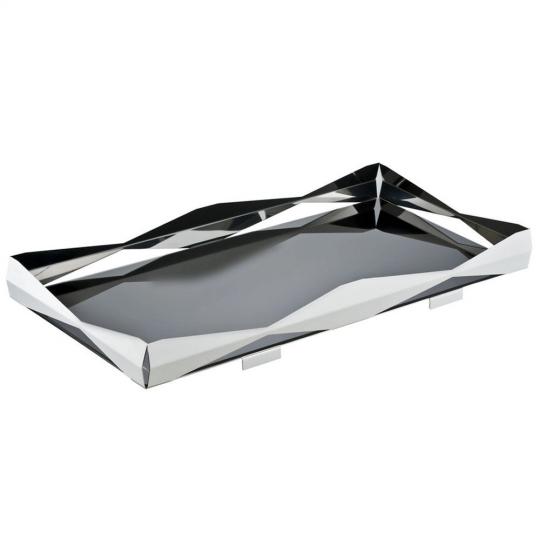 bandeja retangular bar origami níquel black riva