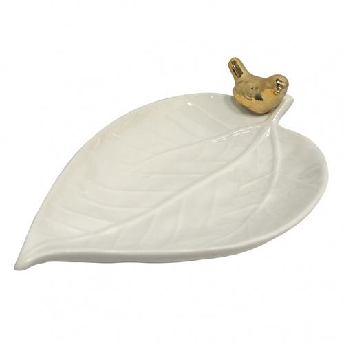 prato porcelana folha passarinho