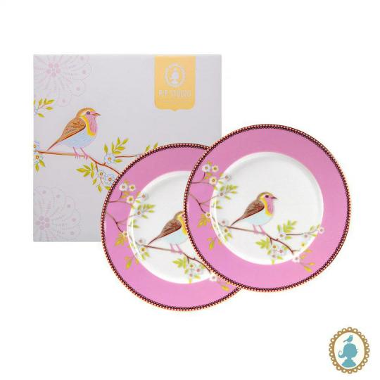 jogo de 2 pratos sobremesa early bird rosa pip studio