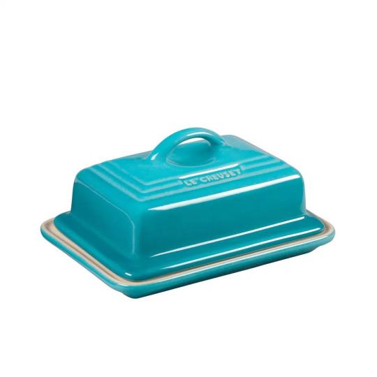 manteigueira retangular azul caribe le creuset
