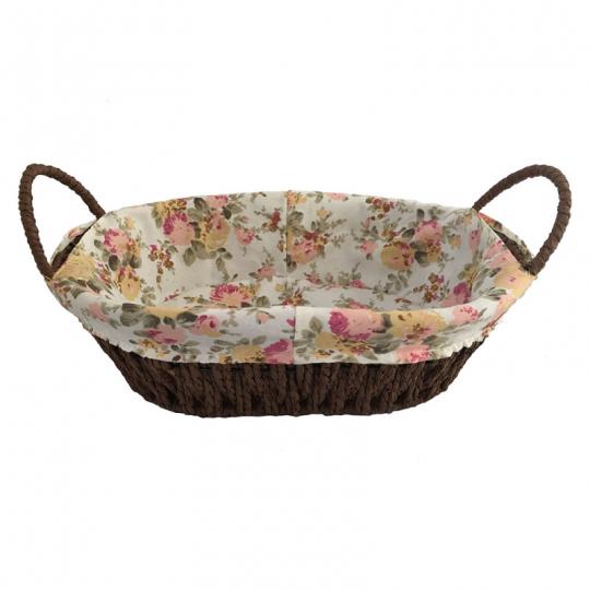 cesta oval forrada em tecido rosa dynasty