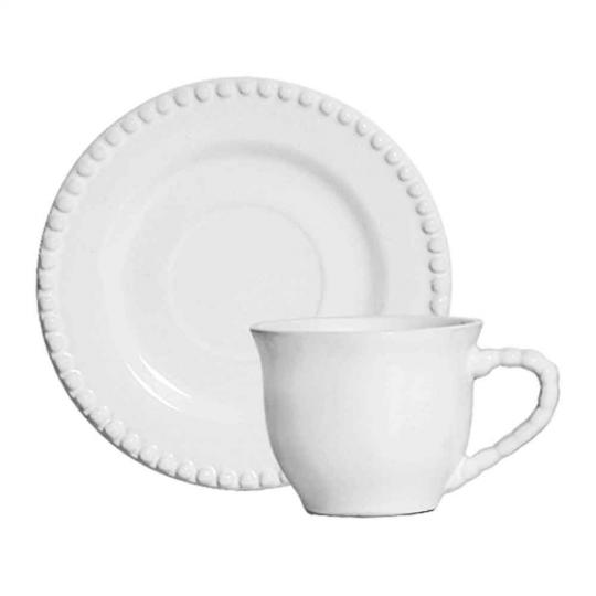 jogo 6 xícara de chá bolinha branca scalla