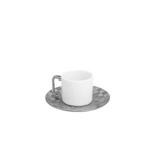 jogo com 6 xícaras e pires para café em porcelana vera silver 80ml wolff