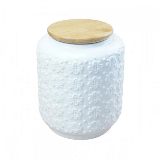 pote de cerâmica branco com tampa de madeira
