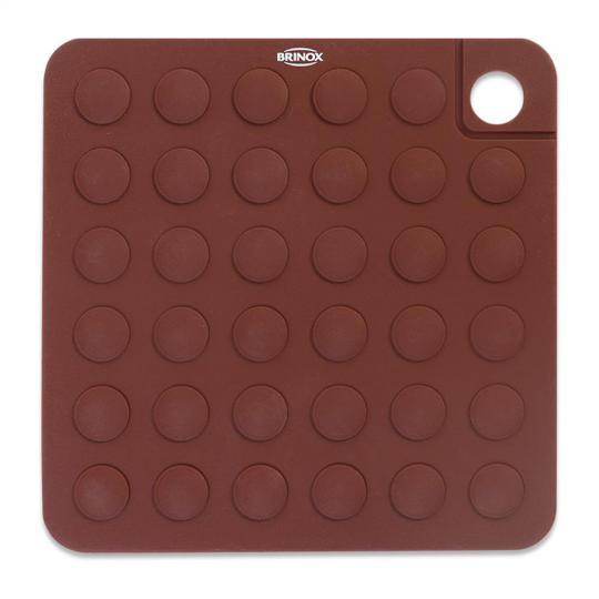 apoio para panelas glacê em silicone cor chocolate brinox