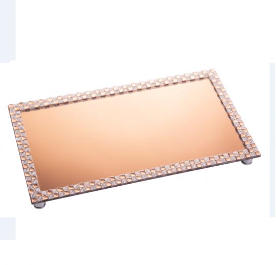 bandeja retangular espelhada cobre 45x25 cm