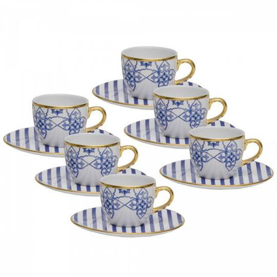 jogo 6 xicaras de cafe coup lusitana em porcelana oxford