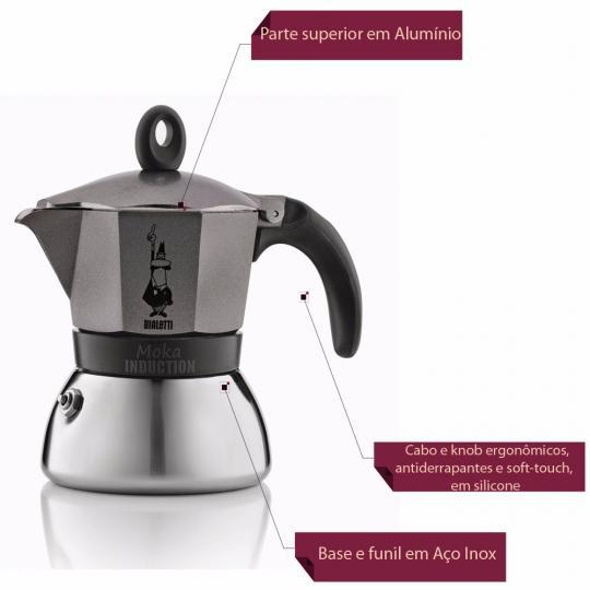 cafeteira moka induction cinza para 6 xicaras bialetti