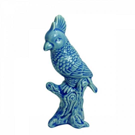 escultura pássaro jade cerâmica azul19cm