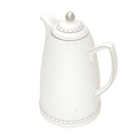 garrafa térmica em porcelana branca e prata 900ml