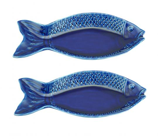 jogo 2 travessas peixe ocean azul 28x13 cm bon gourmet